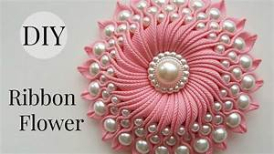DIY Ribbon flower with beads/ grosgrain flowers with beads