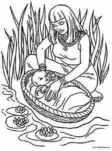 Free coloring pages of baby moses in basket