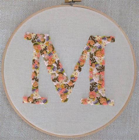 hand embroidered letter monogram letter floral letter hoop art floral letters hand
