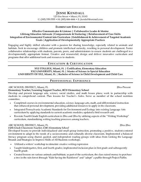 Education Resume Format by Free Elementary Educator Resume Exle