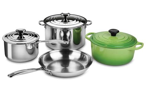 le creuset stainless steel cast iron cookware set  piece palm cutlery
