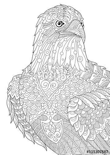 Vector: Zentangle stylized cartoon eagle of prey (hawk