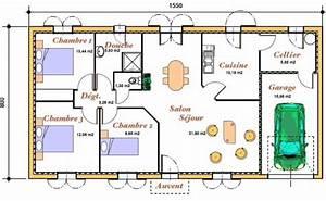 Plan pour une maison de plain pied avec 3 chambres et un garage pour 1 voiture Cuisine fermée