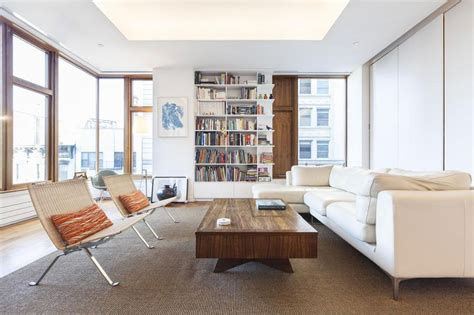 the living room nyc contemporary soho apartment in new york displays