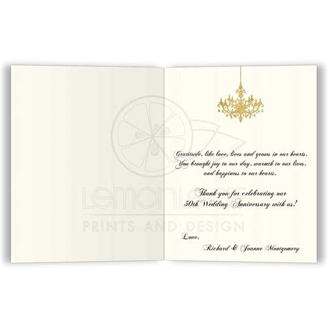Personalized Thank You Card FAUX Gold Foil Ivory Black