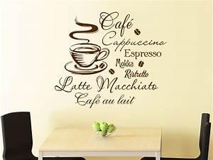 Wandtattoo Sprüche Küche : wandtattoo kaffee mit kaffeetasse und kaffeesorten wandtattoo de ~ Frokenaadalensverden.com Haus und Dekorationen