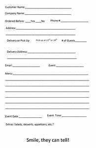Restaurant Food Order Form Template Catering Order Form Template 4 Independent Restaurant