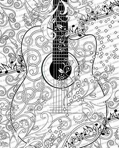 Adult Coloring Page Printable Adult Guitar Coloring Poster