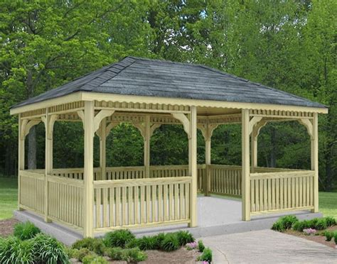 Rectangular Gazebo by Treated Pine Single Roof Rectangle Gazebos With Rubber