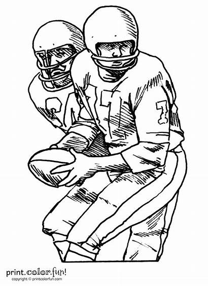 Football Players Coloring Player Pages Printable Team