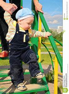 Mother, Learns, Child, To, Walk, Along, Stairs, Stock, Photo
