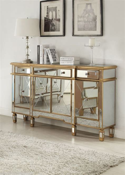 glam bedroom set regency mirrored console cabinet dresser table