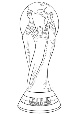 fifa world cup football trophy coloring page