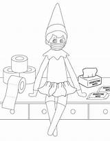 Elf Coloring Shelf Printable Mask Sheets Quarantine Mom sketch template