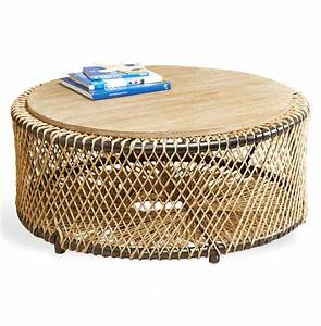 Saranda beach style wood rope round coffee table kathy for Round rope coffee table