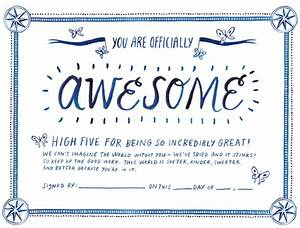 printable certificate of awesomeness With certificate of awesomeness template