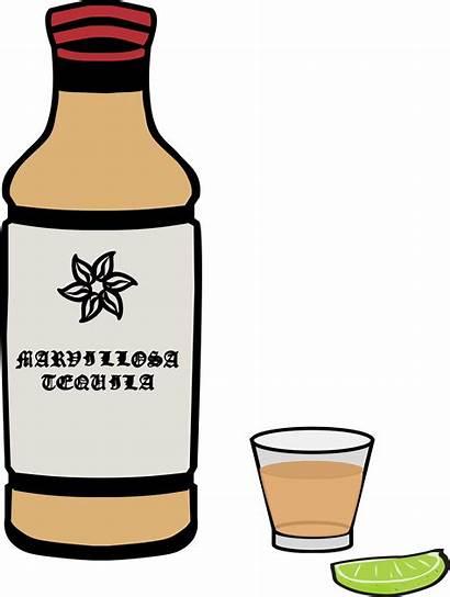 Tequila Bottle Glass Clipart Vector Shot Tequilla