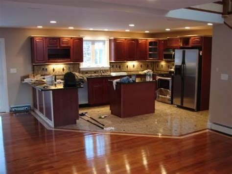 tile vs hardwood in kitchen kitchen cabinets and flooring combinations hardwood vs 8508