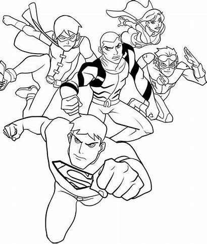 Justice Coloring League Young Draw Characters Printable
