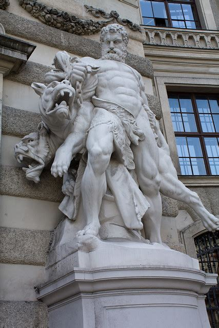 hercules  cerberus statue heldenplatz vienna