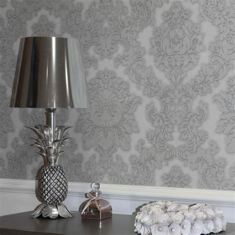 arthouse vicenza damask wallpaper feature wall taupe