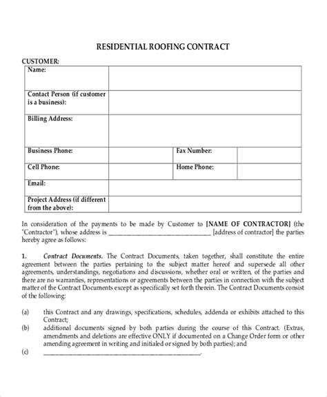 roofing contract template 28 contract templates free sle exle format free premium templates