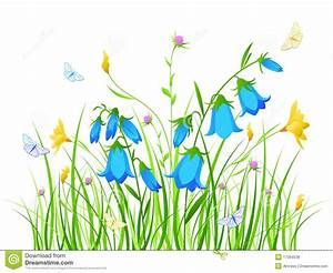 Floral Background With Blue And Yellow Flowers Royalty ...