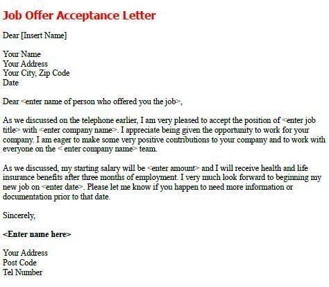 job offer acceptance letter write  formal job