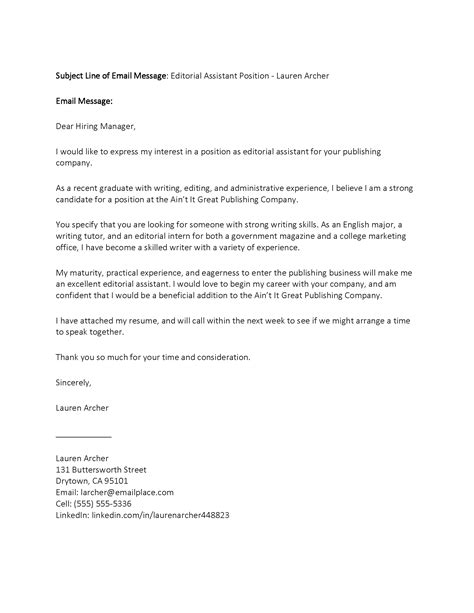 cover letter for position cover letter exle email cover letter business