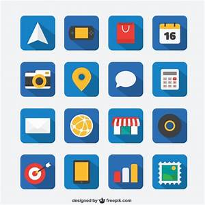 Flat icon set for Web and Mobile App Vector | Free Download