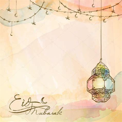 eid mubarak background arabic lantern stock vector