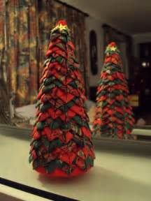 christmas tree in quilted style folded fabric 20cm tall