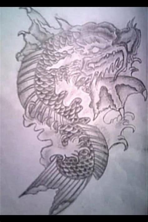 latest dragon fish tattoo designs