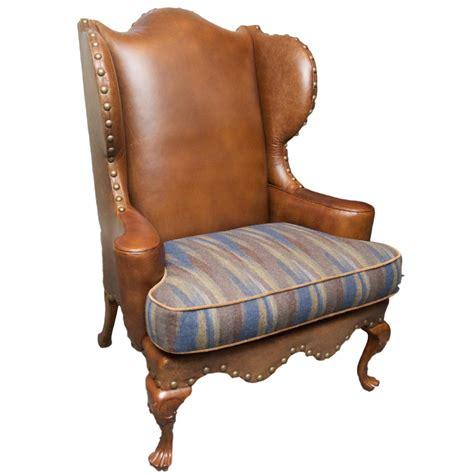 century leather wingback chair w nailhead trim chairish