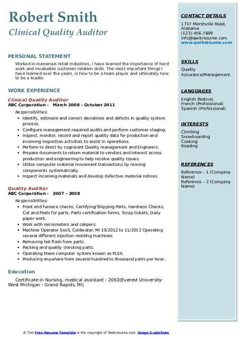The following quality assurance inspector resume samples and examples will help you write a resume that best highlights your experience and qualifications. Quality Auditor Resume Samples | QwikResume