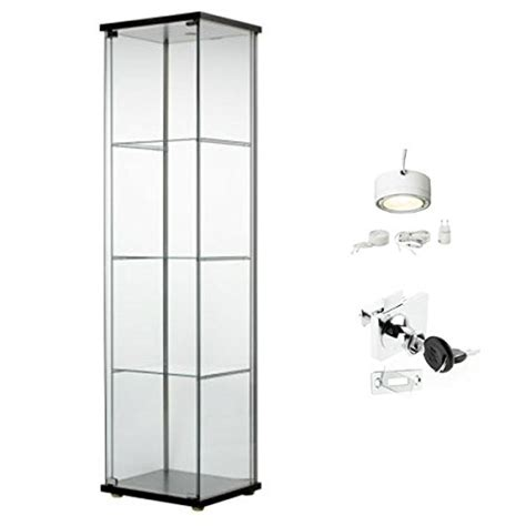 ikea cabinet lighting ikea detolf glass curio display cabinet black lockable