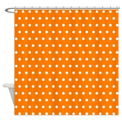 orange polka dot shower curtain by creativeconceptz