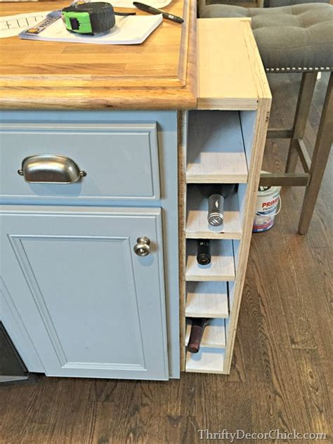 kitchen island with wine rack diy wine rack island storage from thrifty decor