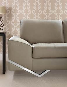 Vanity sectional sofa in latte leather by vig w metal legs for Sectional sofa metal legs