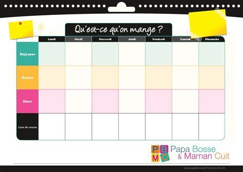 menu semaine cuisine az modèle de menu de la semaine à imprimer planning de repas