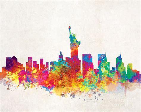 york city skyline painting  inkist prints