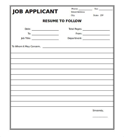 fax cover sheet templates  sample
