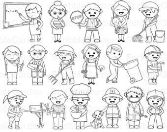 11418 community helpers clipart black and white community helper paper puppets