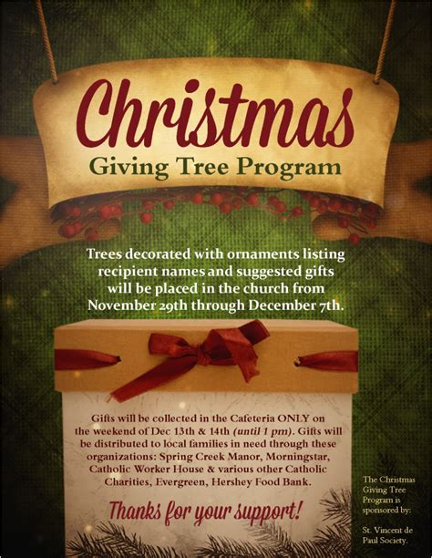 christmas giving tree program st joan  arc catholic