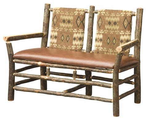 amish upholstered rustic hickory bench