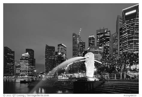 black  white picturephoto merlion fountain