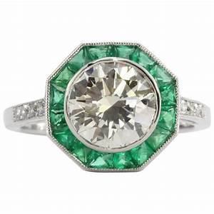 art deco style 21 carat diamond emerald platinum sophia d With art deco style wedding rings