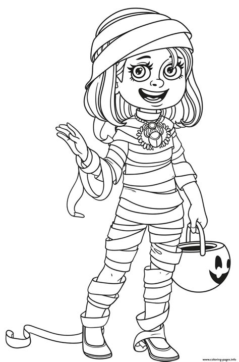 halloween girl mummy costume trick  treat coloring pages printable