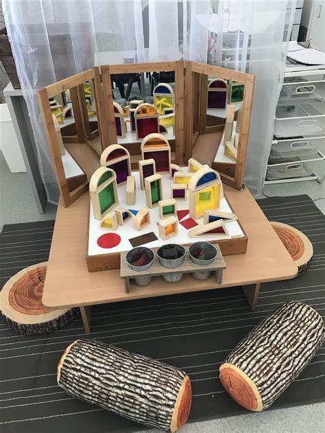 blocks  mirrors  light table reggio inspired