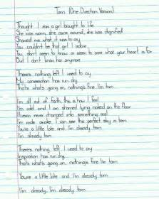lyrics, music, one direction, paper, song, text, torn, words, zyan ...